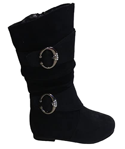 New-Girls-Slouch-Comf-Tall-Midcalf-Suede-Winter-Boots-Shoes