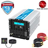 Pure Sine Wave Power Inverter 3000Watt DC 12 Volt to 120Volt with LCD Display and Remote Control 2X 2.4A USB and 4X AC Outlets with Brand GIANDEL (Color: Silver, Tamaño: 3000W 12V)