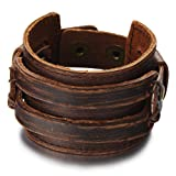 COOLSTEELANDBEYOND Metallic Brown Genuine Leather Wristband Mens Wide Leather Bracelet with Snap Button (Color: 01)