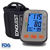 Konquest KBP-2704A Automatic Upper Arm Blood Pressure Monitor - Accurate, FDA Approved - Adjustable Cuff, Large Screen Display, Portable Case - Irregular Heartbeat & Hypertension Detector -Tensiometro (Color: Gray, Tamaño: One Size)