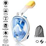 Full Face Snorkel Mask - New Snorkeling Mask with Detachable Seaview 180° GoPro Compatible Snorkel Mask- POKTOK Panoramic Full Face Design,Anti-Leak Snorkeling Desig