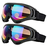 COOLOO Ski Goggles, Pack of 2, Skate Glasses for Kids, Boys & Girls, Youth, Men & Women, with UV 400 Protection, Wind Resistance, Anti-Glare Lenses (Black) (Color: 02.Multicolor/Multicolor)