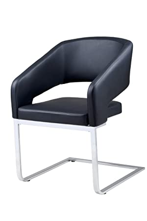 Plutus Leatherette Armchair with Stainless Steel Legs, Black