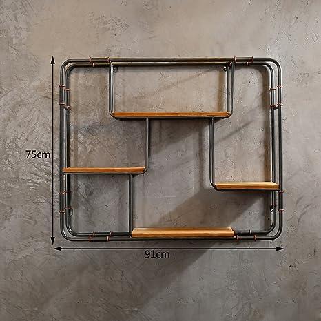 CLOTHES UK- Scaffale creativo per scaffali da esposizione per scaffali da cucina in ferro retro libreria scaffale decorazione industriale 75x91cm Mensola