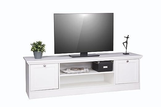 """""""Cottage"""" moderna mesa de TV, de estilo rústico, blanco, 160 x 48 x 45 cm"""