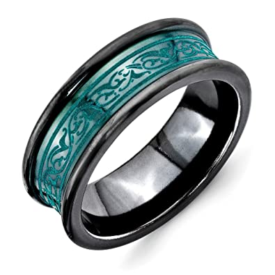 Men's Titanium Black Ti Concave Anodized Green Pattern Lasered Wedding Band Ring