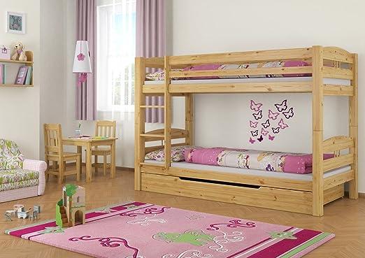 Erst-Holz 60.10–09M S1Lit superposé en pin 90x 200+ 2Sommiers, 2matelas U 1tiroir de lit