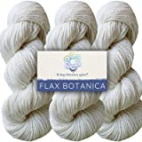 Living Dreams Flax Botanica DK Yarn. Elegant Merino Linen Silk. Cruelty Free & Responsibly Sourced. Pacific Northwest Handmade. Bulk Discount Pack, Pearl (Color: Pearl, Tamaño: Three Skeins)