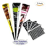 3Pcs Temporary Tattoo India Henna Kit Tattoo Paste Cone Body Art Painting Drawing with 123 pcs Free Tattoo Templates,Black,Brown,Red(3Pcs) (Color: 3 color, Tamaño: 3 pcs)