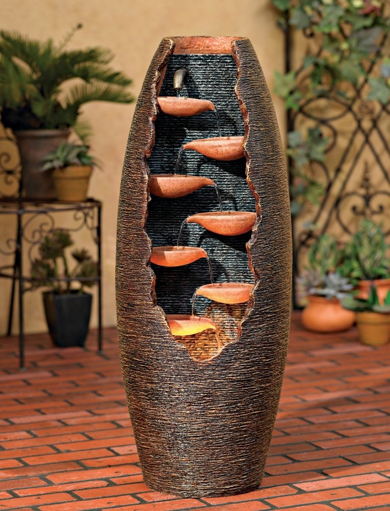 "Seven Cascade Cut-Away Outdoor 35"" High Fountain"