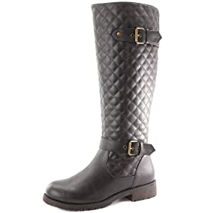 Women's DailyShoes Quilted Round toe Knee High Combat Rider Boot Mid Calf with Side Pocket, 9