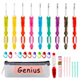K Kwokker 28 Pcs Ergonomic Crochet Hooks Set with Bag, Lengthened and Soft Grip Crochet Kit and Accessories for Beginners and Crocheters, Complete Accessories, Small Volume and Convenient to Carry (Color: 28 Ergonomic Crochet Hooks)