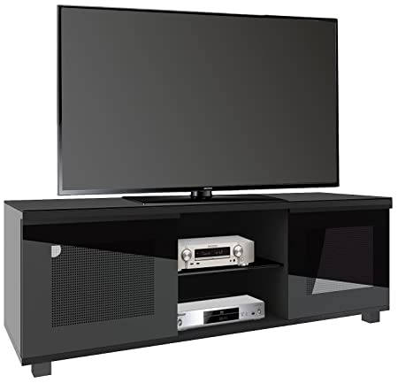 """VCM 14265 Premium TV Möbel """"Luxala"""" lack 150 cm mit 2 großen Glasturen und 2 offenen Fächern, schwarz"""