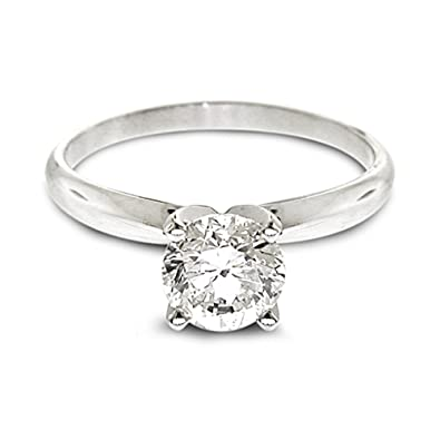 Diamond Studs Forever - 1/4 Carats Solitaire Diamond Engagement Ring GH/SI2-I1 14K White Gold