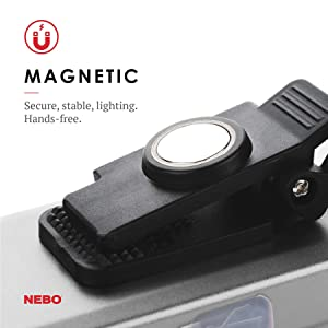 500-Lumen LED COB Work Flashlight Black 3 pack NEBO Hanging Hook and Magnetic Base Rechargeable Light Equipped with Dimming and Power Memory Recall Featuring A Pocket Clip
