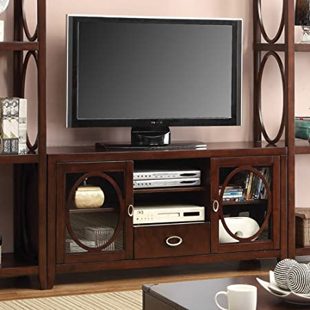 Furniture of America 56 in. Media Cabinet with Storage Cabinet - Cherry