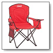 Red Coleman Camping Chair with Cooler