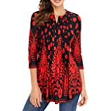 Defal Women Fall 3/4 Sleeve V Neck Paisley Floral Print Blouses Shirts Casual Irregular Hem Flowy Lightweight Tunic Tops (S, Zz-3/4 Sleeve-Red) (Color: Zz-3/4 Sleeve-red, Tamaño: Small)