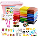 HOLICOLOR 24 Pack Air Dry Clay Kit ( 1.76 Ounces per Pack) Large Weight Colorful Magic Modeling Clay Soft Ultra Light Clay Set with Many Accessories, Best Gift for Kids Students DIY Crafts (Color: B-24 Colors)