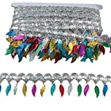 MELADY Pack of 10yards Sequins Leaves Hanging Tassel Lace Dance Clothing Accessories Fringe Trim (Silver Colorful) (Color: silver colorful)