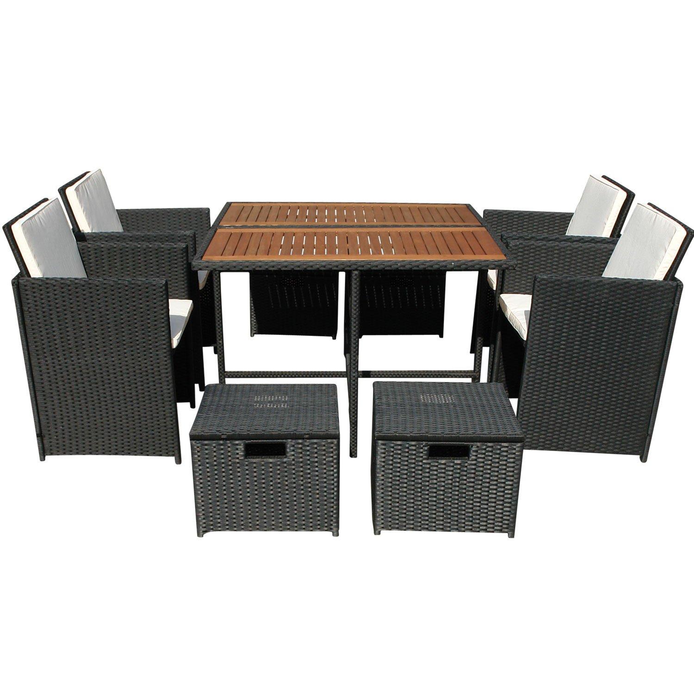 indoba® IND-70083-FASE5 - Serie Faro - Gartenmöbel Set 9-teilig aus Eukalyptus Holz und Polyrattan - 4 Gartenstühle klappbar + jeweils 2 Sitzauflagen + quadratischer Gartentisch + 4 Gartenhocker