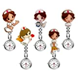 Ladies Nurse Watch Cute Cartoon Clip-on Lapel Hanging-Pendant Doctor Clinic Staff Tunic Stethoscope Badge Quartz Fob Pocket Watch - 5 Pack (Color: pack of 5)