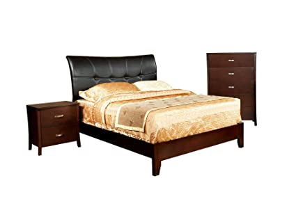 Furniture of America Bex 3-Piece Padded Leatherette Platform Bed Set with Nightstand and Chest, California King, Brown Cherry Finish