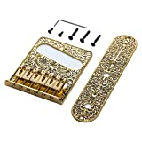 Wanby Professional 6 String Saddle Bridge Plate Beautiful Decorative Pattern for Tele Electric Guitar (gold) (Color: gold)