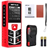 WETOLS Laser Distance Meters, 196ft M/In/Ft Laser Measure with Electronic Angle Sensor and Mute Function, Backlit LCD, for Pythagorean, Distance, Area and Volume Measuring, WE-182 (Color: Red and black, Tamaño: Pocket Size)