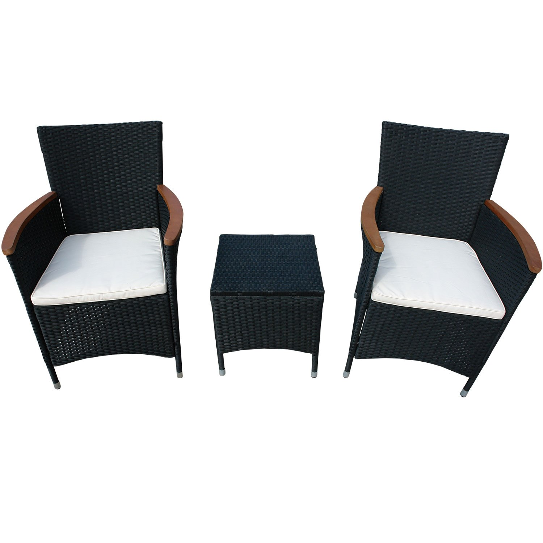 indoba® IND-70084-VASE3 - Serie Valencia - Gartenmöbel Set 3-teilig aus Eukalyptus Holz und Polyrattan - 2 Gartenstühle + 2 Sitzauflagen + Gartenhocker
