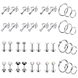Masedy 20 Pairs Stainless Steel Tiny Stud Earrings for Mens Womens Small Hoops Earrings CZ Cartilage Labret Lip Tragus Ear Piercing Jewlry Style-B (Color: B: 20 Pairs)