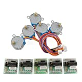 Gazeer 6 Sets Stepper Motor 28Byj-48 5V Dc 4-Phase 5-Wire + Uln2003 Driver Board