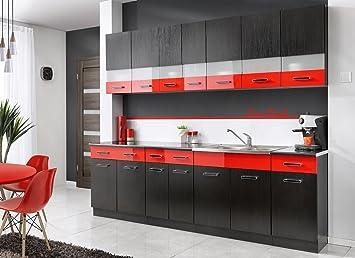 Komplette Kuche MAMBE-SCHWARZ 260 cm verschiedene Farbkombinationen Hochglanz (schwarz - rot)