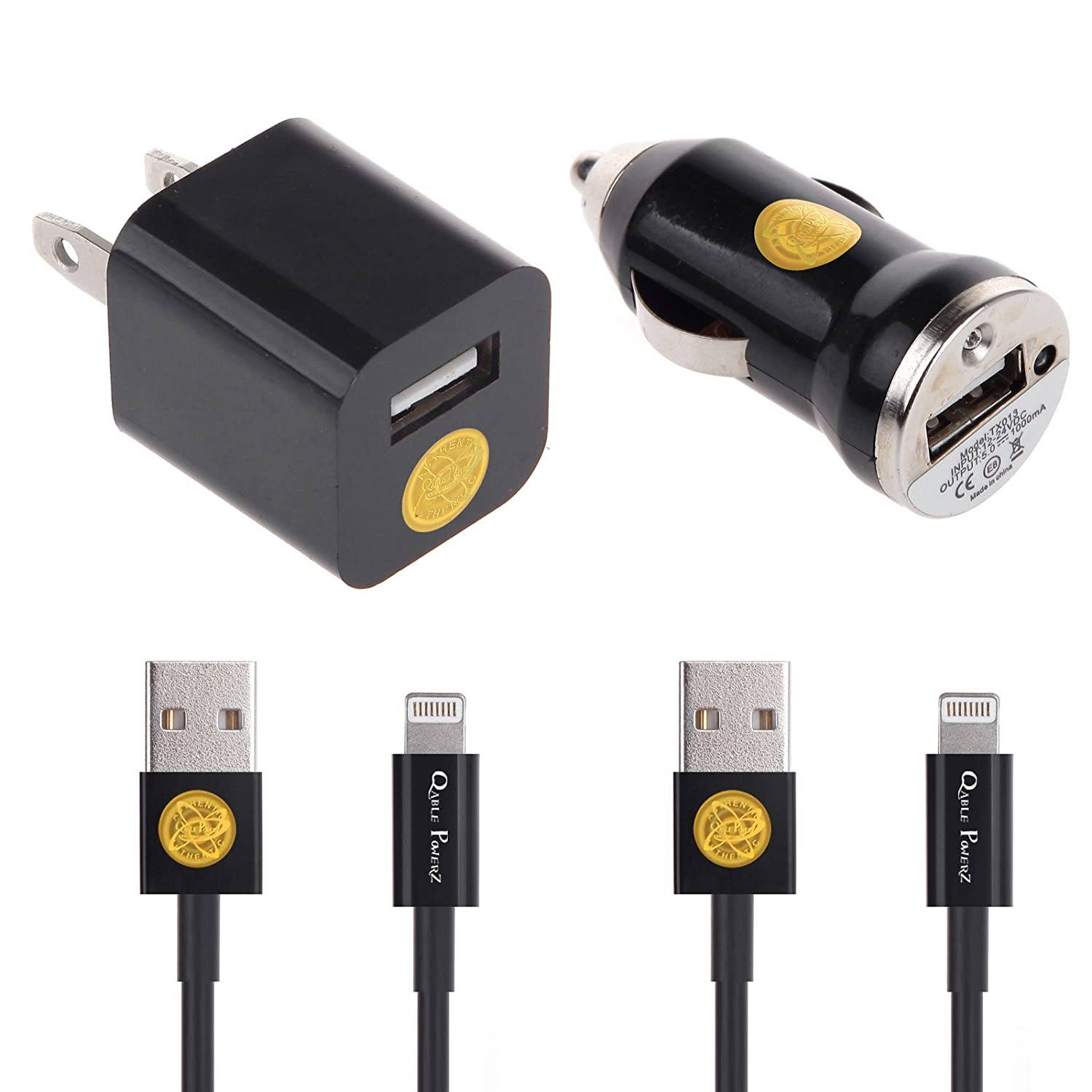 Car & Travel Charging Set for iPhone 5 5C 5S, iPhone 6, iPad 4, iPad Mini, iPod Touch 5/Nano 7, 8 pin to USB, With: (1) 3ft lightning cable, (1) 6ft lightning cable, (1) Car charger, (1)Travel charger (Black)