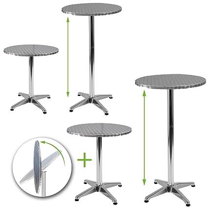 Jago Set Bistro tische tavolini in alluminio regolabile in altezza 70cm o 110cm Ø 60cm