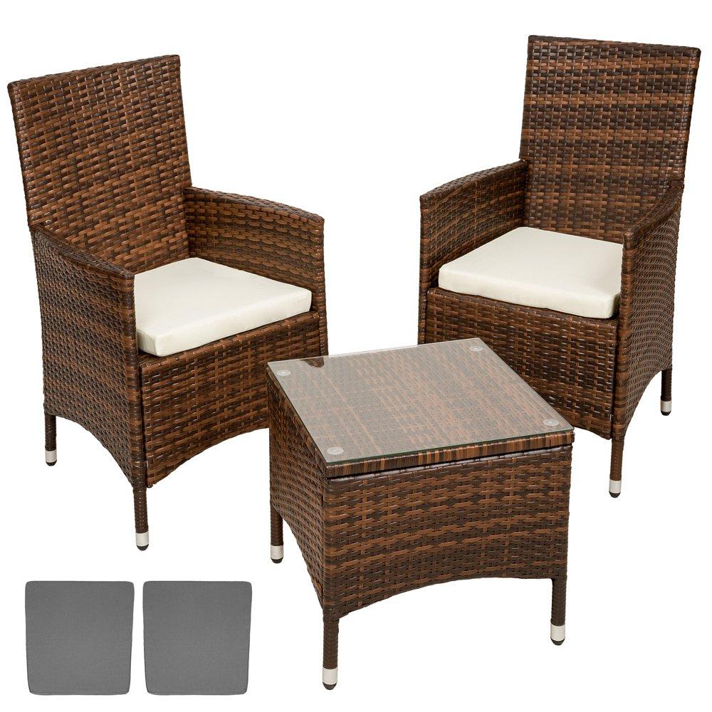 TecTake Aluminium Poly Rattan Gartenmöbel Gartengarnitur Gartenset Sitzgruppe schwarz – braun + Sitzkissen +2 Bezüge, Edelstahlschrauben günstig kaufen