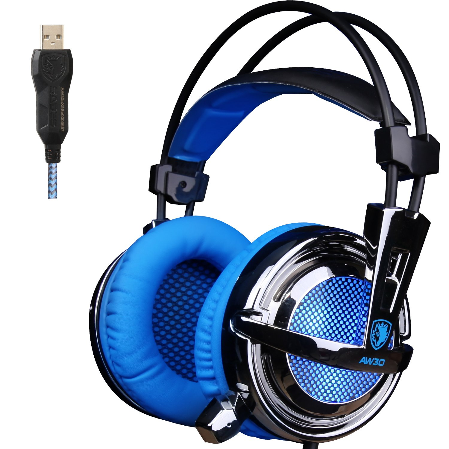 GW SADES AW30 Professional 7.1 Surround Sound USB Wired Stereo Gaming Headset Headphones with Microphone Vibration Volume Control LED Lights Lightweight Design for PC Game(Black&Blue)