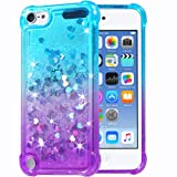 Flocute iPod Touch 5 6 7 Case, iPod Touch 5 6 7 Glitter Case Gradient Bling Sparkle Floating Liquid Soft TPU Cushion Luxury Fashion Girls Women Cute Case for iPod Touch 5th 6th 7th (Teal Purple) (Color: Teal Purple)
