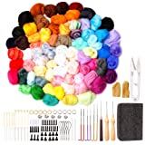 Needle Felting Kit,179 Pieces Needle Felting Tools for Beginner, 72 Colors Wool Roving Yarn Set with Wool Felt Tools and Foam Mat for DIY Complete Needle Felting Starter Kit