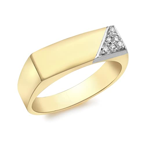 Carissima Gold 9ct Yellow Gold Mens Diamond Signet Ring