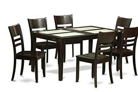 East West Furniture CALY7G-CAP-W 7-Piece Formal Dining Table Set
