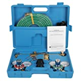 ZENY NEW Portable Gas Welding Cutting Torch Kit w/Hose, Oxy Acetylene Brazing Professional Set with Goggles & Case (Color: Blue case)