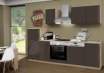 idealShopping Kuchenblock mit Geschirrspuler und Ceranfeld Premium 270 cm in lava glänzend