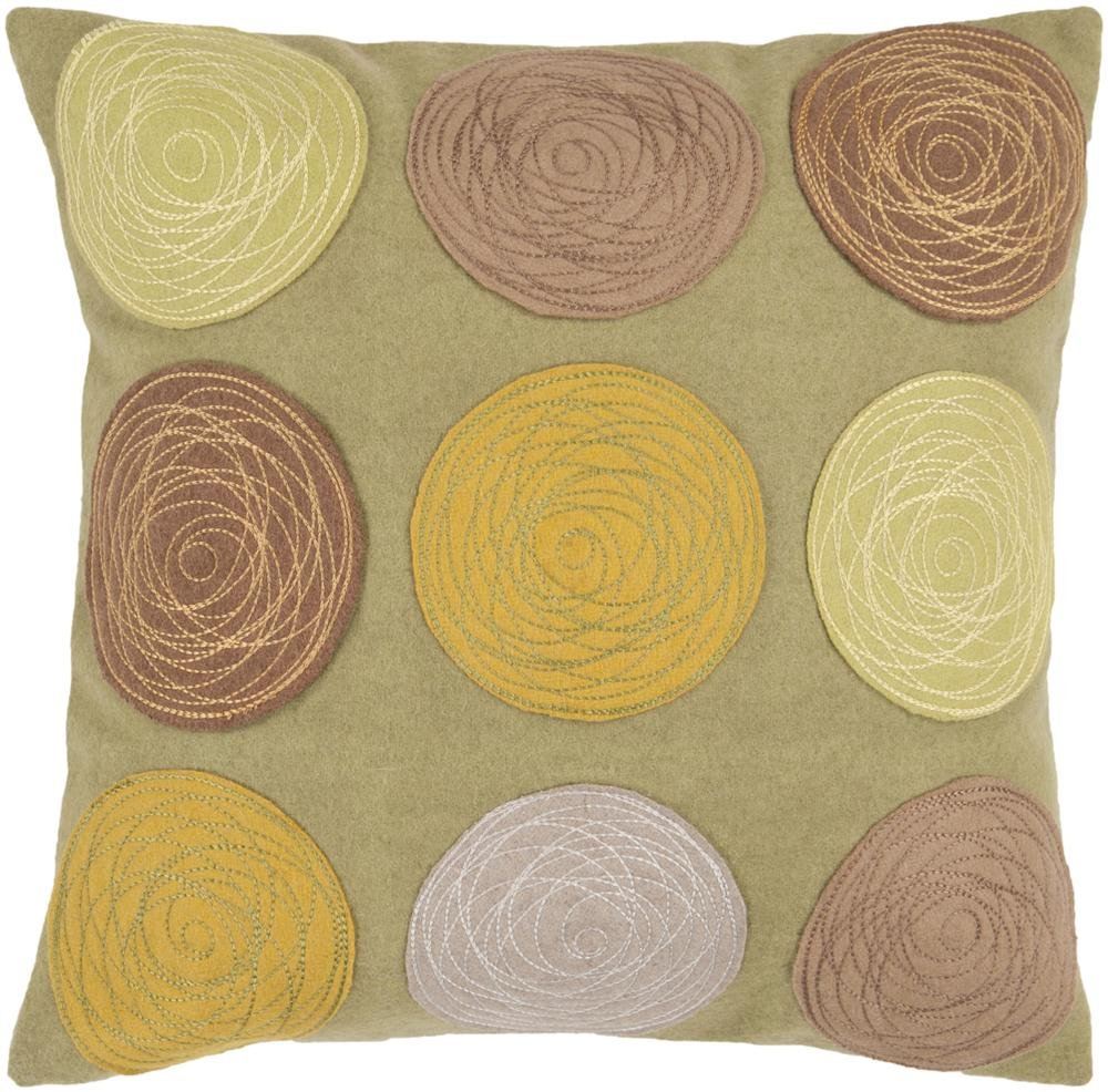Surya CW-058 Machine Made 70% Wool / 25% Nylon / 5% Other Fiber Camel 18 x 18 Decorative Pillow