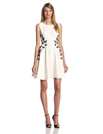 ERIN erin fetherston Women's Gloria Butterfly Ponte Fit and Flare Dress, Ivory, 6
