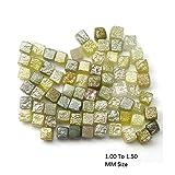 DIAMONDBRAND 50.00 Ct wholesale lot Natural Rough Loose diamond Yellow Color Cube Diamonds Lot 1.00 to 1.50 MM (Color: Sky Blue)