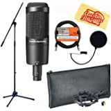 Audio-Technica AT2050 Multi-Pattern Condenser Microphone Bundle with Boom Stand, Pop Filter, XLR Cable, and Austin Bazaar Polishing Cloth (Color: Bundle w/ Boom Stand, Tamaño: AT2051)