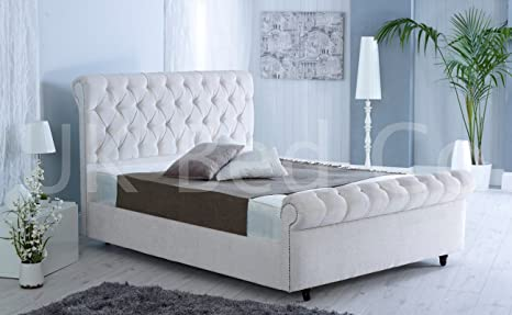 UKBED MANUFACTURER LUXURY SPECIAL MAJESTIC UPHOLSTERED CREAM CHENILLE MODERN DESIGN DIAMONATE BED 5 FT KING SIZE