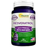 Pure Resveratrol with Red Wine Extract - 180 Capsules - Natural Trans Resveratrol Antioxidant Supplement Pills for Weight Loss & Heart Health - Extra Strength Trans-Resveratrol for Anti Aging (Tamaño: 180 Capsules)
