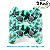 [2 Pack] Wireless Double Vibration Game Controller Bluetooth Sixaxis Gamepad Remote for PS3 Playstation 3 [Gift 2 Charging-Cable] (Green Lightning)